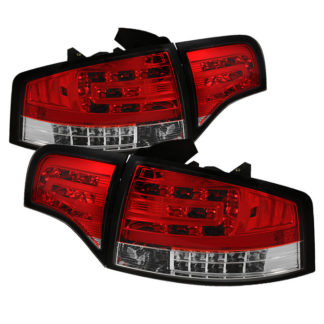 ( Spyder ) Audi A4 4Dr 06-08 LED Tail Lights - Red Clear