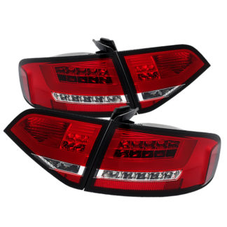 ( Spyder ) Audi A4 09-12 4Dr LED Tail Lights -  LED Model Only ( Not Compatible With Incandescent Model ) - Red Clear