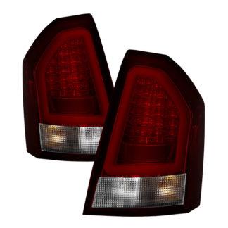 ( Spyder ) Chrysler 300C 08-10 Version 2 Light Bar LED Tail Lights - Red Clear