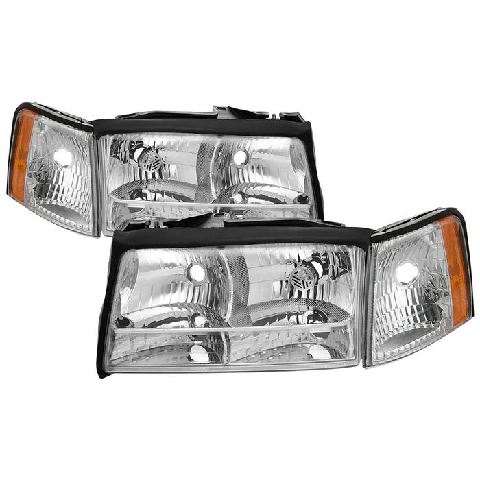 ( OE ) Cadillac Deville 97-99 OEM Style Headlights With Corner Parking Light 4pcs sets - Chrome