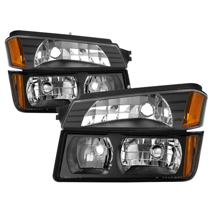 ( OE ) Chevy Avalanche with Body Cladding only 2002-2006 OEM headlights With Bumper Light -OEM (BLACK)