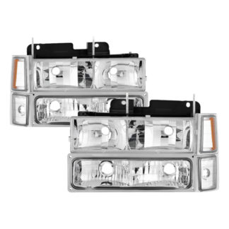 ( xTune ) Chevy C/K Series 1500/2500/3500 94-98 / Chevy Tahoe 95-99 / Chevy Silverado 94-98 / Chevy Suburban 94-98 / Chevy Suburban 94-98 ( Not Compatible With Seal Beam Headlight ) Headlights W/ Corner & Parking Lights 8pcs sets - Chrome
