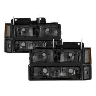 ( xTune ) Chevy C/K Series 1500/2500/3500 94-98 / Chevy Tahoe 95-99 / Chevy Silverado 94-98 / Chevy Suburban 94-98 / Chevy Suburban 94-98 ( Not Compatible With Seal Beam Headlight ) Headlights W/ Corner & Parking Lights 8pcs sets – Smoked