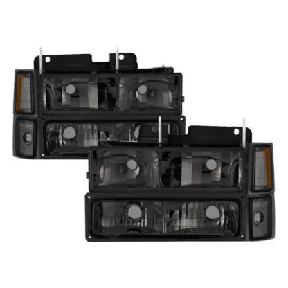 ( xTune ) Chevy C/K Series 1500/2500/3500 94-98 / Chevy Tahoe 95-99 / Chevy Silverado 94-98 / Chevy Suburban 94-98 / Chevy Suburban 94-98 ( Not Compatible With Seal Beam Headlight ) Headlights W/ Corner & Parking Lights 8pcs sets - Smoked