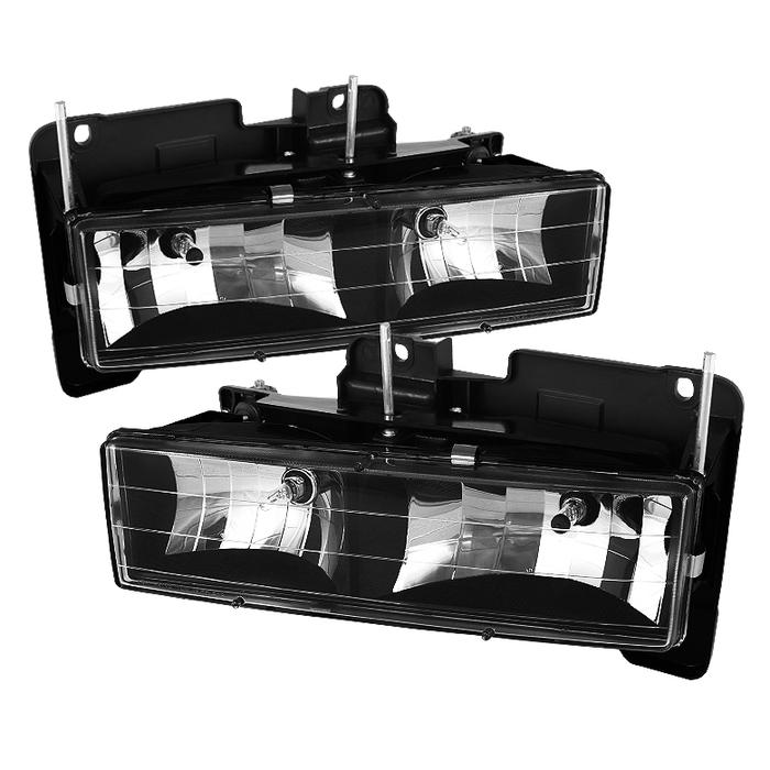( xTune ) Chevy C/K Series 1500/2500/3500 88-99 / Chevy Tahoe 95-99 / GMC C/K Series 1500/2500/3500 / GMC Jimmy 92-94 / GMC Yukon 92-99 ( Replaceable City Lights ) / Chevy Silverado 88-98 / Chevy Suburban 88-98 / Chevy Suburban 88-98 Crystal Headlights - Black