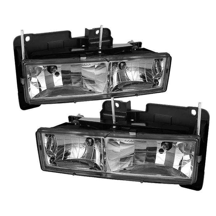 ( OE ) Chevy C/K Series 1500/2500/3500 88-99 / Chevy Tahoe 95-99 / GMC C/K Series 1500/2500/3500 / GMC Jimmy 92-94 / GMC Yukon 92-99 ( Replaceable City Lights ) / Chevy Silverado 88-98 / Chevy Suburban 88-98 / Chevy Suburban 88-98 Crystal Headlights - Chrome