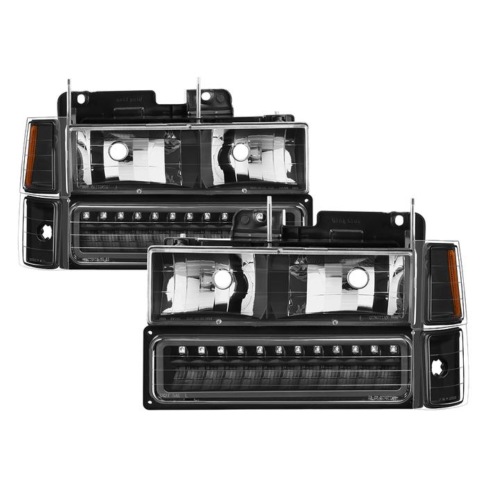 ( xTune ) 94-98 Chevy C/K C/10 1500/2500/3500/92-99 Tahoe/92-99 Suburban/94-98 Silverado/92-94 Blazer Full Size (Won't Fit Seal Beam Headlights) Corner/LED Bumper Headlights - Black