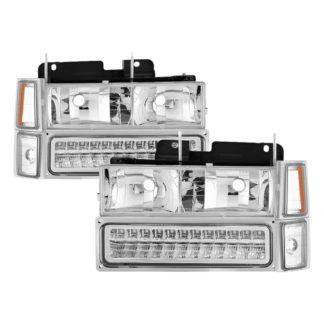 ( xTune ) 94-98 Chevy C/K C/10 1500/2500/3500/92-99 Tahoe/92-99 Suburban/94-98 Silverado/92-94 Blazer Full Size (Won't Fit Seal Beam Headlights) Corner/LED Bumper Headlights - Chrome
