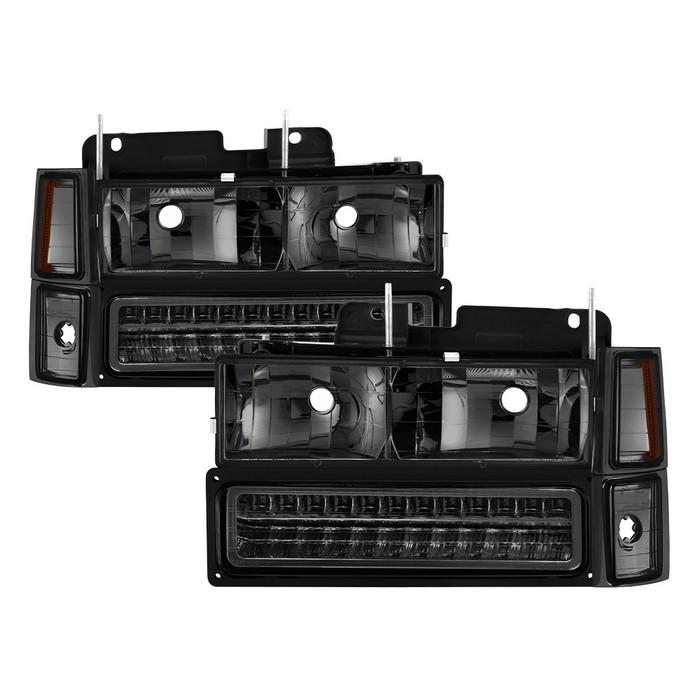 ( xTune ) 94-98 Chevy C/K C/10 1500/2500/3500/92-99 Tahoe/92-99 Suburban/94-98 Silverado/92-94 Blazer Full Size (Won't Fit Seal Beam Headlights) Corner/LED Bumper Headlights - Smoke