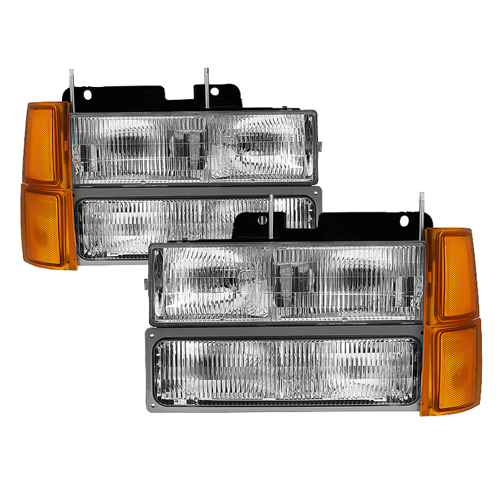 ( OE ) Chevy C/K Series 1500/2500/3500 94-98 / Chevy Tahoe 95-99 / Chevy Silverado 94-98 / Chevy Suburban 94-98 / Chevy Suburban 94-98 ( Not Compatible With Seal Beam Headlight ) Headlights W/ Corner & Parking Lights 8pcs sets -OEM