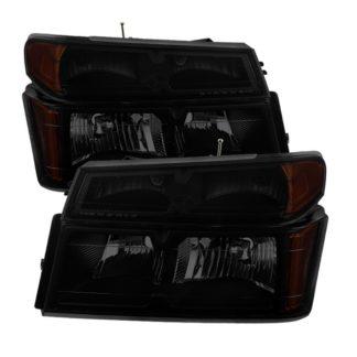 ( xTune ) Chevy  Colorado 04-12 / Canyon 04-12 / Isuzu i-208 i-350 2006 / Isuzu i-290 i-370 2007-2008 OEM headlights With Bumper Lights - Black Smoked
