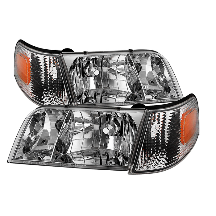 ( OE ) Crown Victoria 98-11 Crystal HeadLights With Corner Lights set - Chrome