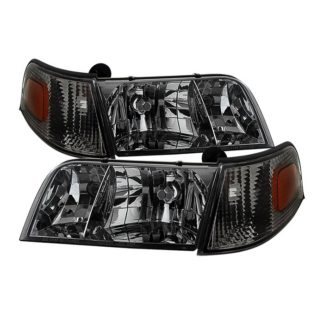 ( xTune ) Crown Victoria 98-11 Crystal HeadLights With Corner Lights set - Smoked