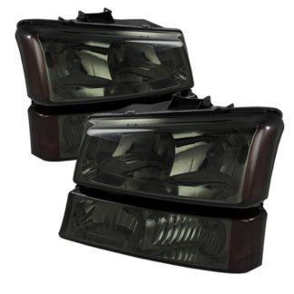 ( xTune ) Chevy Silverado 1500/2500/3500 03-06 / Chevy Silverado 1500HD 03-07 / Chevy Silverado 2500HD 03-06 Crystal Headlights W/ Amber Bumper Lights - Smoke