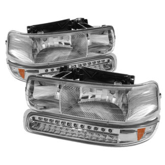 ( xTune ) Chevy Silverado 1500/2500 99-02 / Chevy Silverado 3500 01-02 / Chevy Suburban 1500/2500 00-06 / Chevy Tahoe 00-06 Headlights With LED Bumper Lights - Amber - Chrome