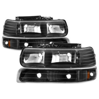 ( xTune ) Chevy Silverado 1500/2500 99-02 / Chevy Silverado 3500 01-02 / Chevy Suburban 1500/2500 00-06 / Chevy Tahoe 00-06 Amber Crystal Headlights With Bumper Lights - Black