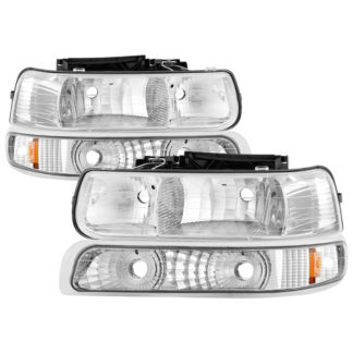 ( OE ) Chevy Silverado 1500/2500 99-02 / Chevy Silverado 3500 01-02 / Chevy Suburban 1500/2500 00-06 / Chevy Tahoe 00-06 Amber Crystal Headlights With Bumper Lights - Chrome