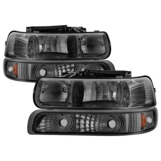 ( xTune ) Chevy Silverado 1500/2500 99-02 / Chevy Silverado 3500 01-02 / Chevy Suburban 1500/2500 00-06 / Chevy Tahoe 00-06 Amber Crystal Headlights With Bumper Lights - Smoke