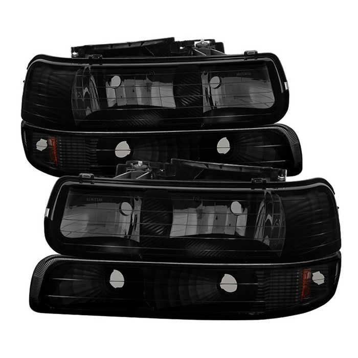 ( xTune ) Chevy Silverado 1500/2500 99-02 / Chevy Silverado 3500 01-02 / Chevy Suburban 1500/2500 00-06 / Chevy Tahoe 00-06 Amber Crystal Headlights With Bumper Lights - Black Smoked