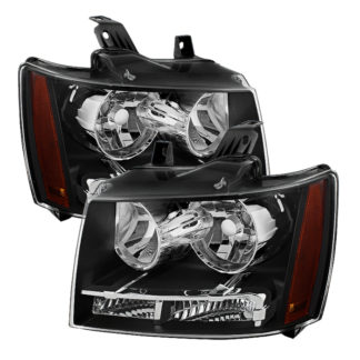 ( OE ) Chevy Suburban 1500/2500 07-14 / Chevy Tahoe 07-14 / Avalanche 07-14 Crystal Headlights - Black