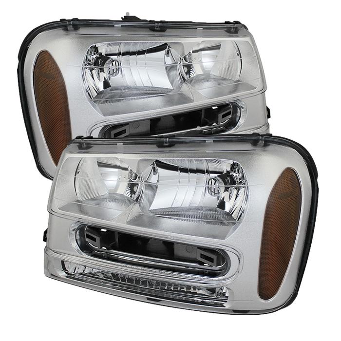 ( OE ) Chevy Trailblazer 02-09 Crystal Headlights - Chrome
