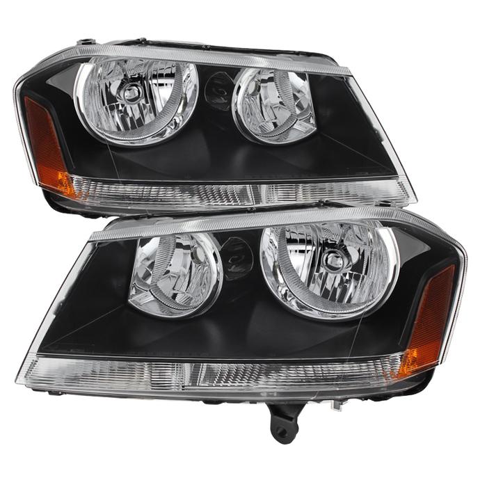 ( xTune ) Dodge Avenger 08-14 Crystal Headlights - Black