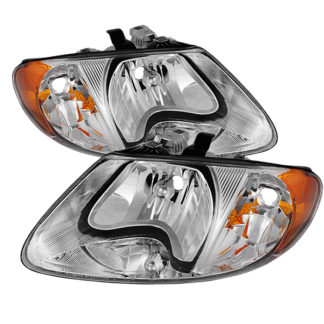 "( OE ) Dodge Caravan & Grand Caravan 01-07 / Chrysler Town & Country (except '05-07 119"""""""" long wheel base) 01-07 / Chrysler Voyager & Grand Voyager 01-03 Crystal Headlights - Chrome"
