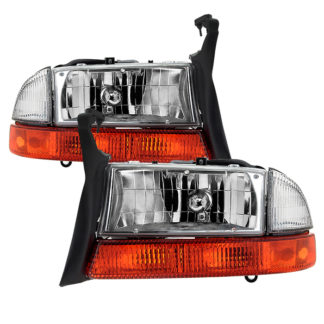 ( OE ) Dodge Dakota 1997-2004 / Durango 1998-2004 OEM Style Headlights With Bumper Signal Lights - Chrome