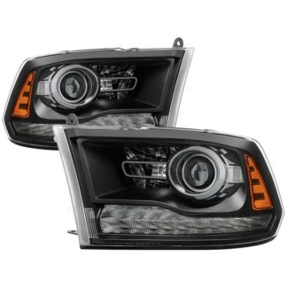 ( POE ) Dodge Ram 2013-2017 Halogen Models ( Only Fit Models with factory projector LED style)  OEM Style Headlights – Black