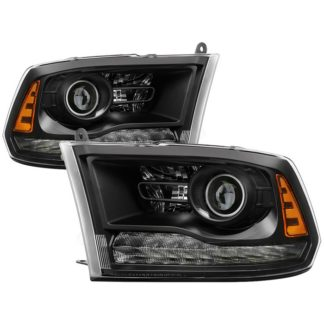 ( POE ) Dodge Ram 2013-2017 Halogen Models ( Only Fit Models with factory projector LED style)  Proejctor Headlights – Black