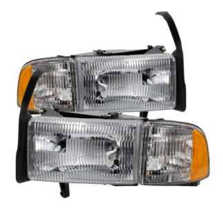 ( OE ) Dodge Ram 1500 94-01 (don't fit Sport Package )/ Ram 2500 3500 94-02  OEM Style headlights With Corner - Chrome