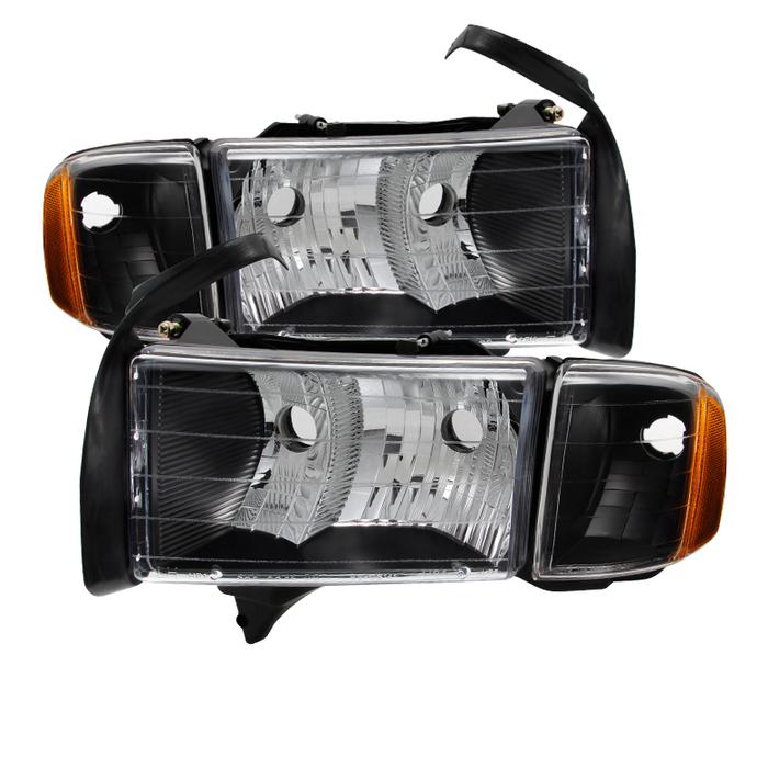 ( xTune ) Dodge Ram Sport Model Only 1999-2002 OEM headlights Black