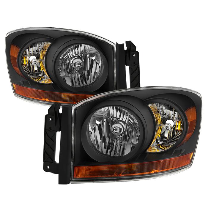 ( xTune ) Dodge Ram 1500 06-08 / Ram 2500/3500 06-09 with Chrome Bezel & Amber Bar Headlights - Black
