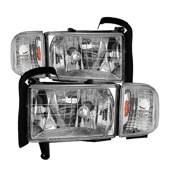 ( OE ) Dodge Ram 1500 94-01 ( 99-01 Don't Fit Sport Package Models ) / Ram 2500 3500 94-02 Headlights with Corner Lamps - OEM