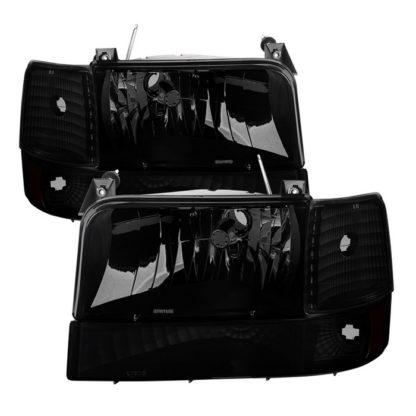 ( xTune ) Ford F150/Bronco 92-96 Headlights w/Corner Bumper 6pcs Amber- Black Smoked