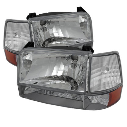 ( OE ) Ford F150/Bronco 92-96 Headlights w/Corner Bumper 6pcs Amber- Chrome