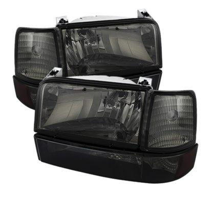 ( xTune ) Ford F150/Bronco 92-96 Headlights w/Corner Bumper 6pcs Amber- Smoke