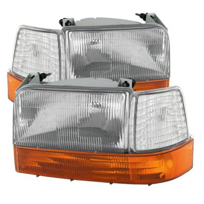 ( OE ) Ford F150/Bronco 92-96 Headlights w/Corner Bumper 6pcs Amber- Clear