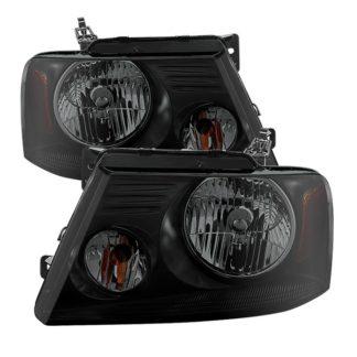 ( POE ) Ford F150 04-08 Amber Crystal Headlights – Black Smoked