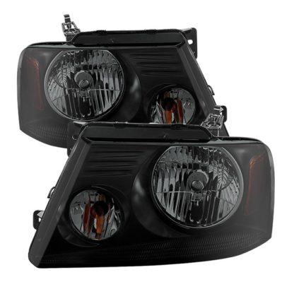 ( POE ) Ford F150 04-08 Amber Crystal Headlights - Black Smoked