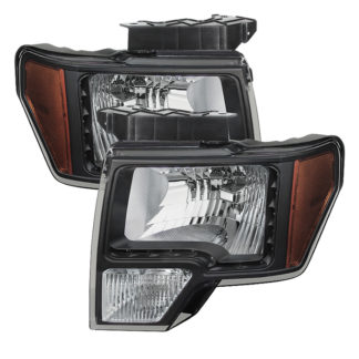 ( xTune ) Ford F150 09-14 Amber Crystal LED Headlights – Black