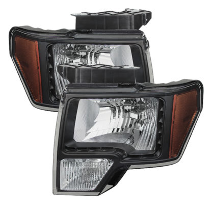 ( xTune ) Ford F150 09-14 Amber Crystal LED Headlights - Black