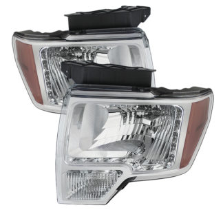 ( xTune ) Ford F150 09-14 Amber Crystal LED Headlights - Chrome
