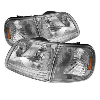 ( OE ) Ford F150 97-03 / Expedition 97-02 Crystal Headlights w/Corner – Chrome