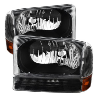 ( xTune ) Ford F250 F350 F450 Superduty Excursion 99-04 Crystal Headlights With Bumper Lights - Black