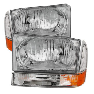 ( OE ) Ford F250 F350 F450 Superduty Excursion 99-04 Crystal Headlights With Bumper Lights - Chrome