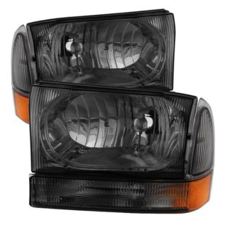 ( xTune ) Ford F250 F350 F450 Superduty Excursion 99-04 Crystal Headlights With Bumper Lights - Smoked