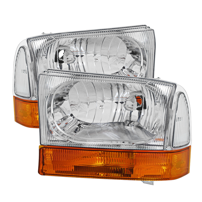 ( OE ) Ford F250 F350 F450 Superduty Excursion 99-04 Crystal Headlights With All Amber Bumper Lights - Chrome