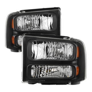 ( OE ) Ford F250 F350 F450 Superduty Excursion 99-04 Headlights (05-07 Harley Style Convert to 99-04 Come with Bulbs Wiring Harness and Instruction) - Black