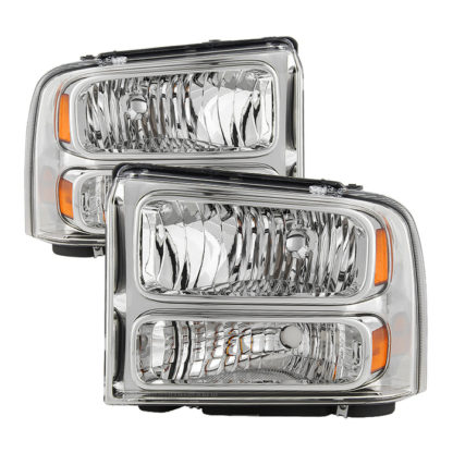 ( OE ) Ford F250 F350 F450 Superduty Excursion 99-04 Headlights (05-07 Harley Style Convert to 99-04   Come with Bulbs  Wiring Harness and Instruction) - Chrome
